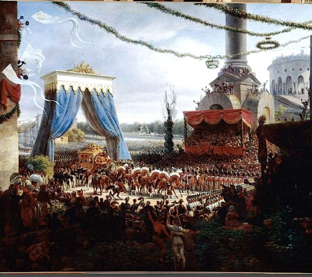 A la mort de Louis XVIII en 1824, son dernier frère survivant, le comte d'Artois, monta sur le trône sous le nom de Charles X. Acquis depuis toujours aux idées ultraroyalistes et désireux par là même de signifier avec éclat la continuité entre la Restauration et l'ancienne monarchie, il se fit sacrer à Reims en mai 1825. A son retour, le roi prit symboliquement possession de sa capitale, y entrant solennellement pour se rendre, dans un parcours volontairement étendu, d'abord à Notre-Dame, puis aux Tuileries. Le contraste fut à l'époque remarqué entre la froideur manifestée par le peuple de Paris et l'enthousiasme qui avait accompagné l'entrée des Bourbons restaurés dans la capitale, en mars 1814. - voir ; http://www.histoire-image.org/site/oeuvre/analyse.php?i=155#sthash.hoRPWwKI.dpuf Le peintre Lejeune, en habile courtisan, n'en témoigne pas ici. Le carrosse du sacre, commandé tout spécialement pour la cérémonie, est utilisé pour l'entrée solennelle du nouveau souverain dans sa capitale. Il vient de passer sous un arc triomphal édifié pour la circonstance à la barrière de la Villette – les pavillons d'octroi bâtis à la fin de l'Ancien Régime par l'architecte Claude-Nicolas Ledoux autour de la capitale étaient alors encore tous en place. La plupart d'entre eux seront détruits sous le Second Empire au moment de l'agrandissement de Paris et des travaux menés par Haussmann, la rotonde de la Villette étant l'un de ceux qui furent alors épargnés. L'arc a été tendu de bleu (les armes de France étant les lis d'or sur fond bleu), le blanc, couleur de la monarchie, étant abondamment répandu dans diverses décorations et en particulier dans les nombreux drapeaux qui flottent sur des colonnes elles aussi temporaires. Le souverain s'est arrêté : il est reçu par la municipalité parisienne, avec à sa tête le préfet de la Seine, le comte de Chabrol. Le lien est évident avec les anciennes entrées royales où le monarque était reçu par les échevins de Paris emmenés par le prévôt des m
