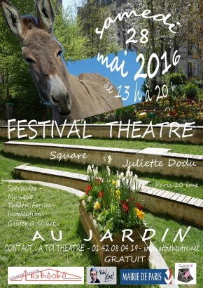 Affiche Festival Theatre au Jardin  - A Toi Théâtre - 28 mai 2016